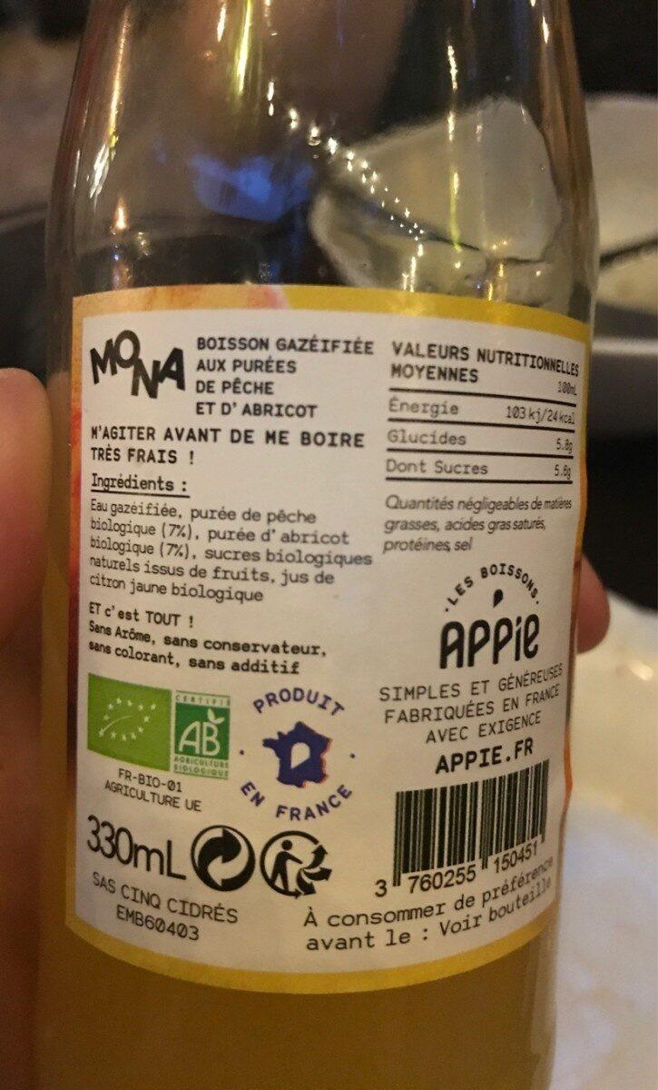 La limonade Mona - Pêche/Abricot - Ingrédients