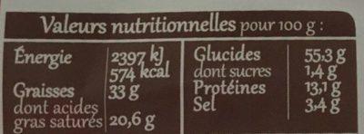Biscuits feuilletés tomate piment - Informations nutritionnelles