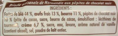 Brioche artisanale de Normandie aux pépites de chocolat - Ingrédients - fr