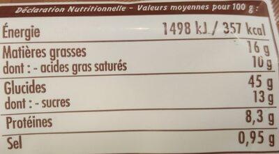 Brioche artisanale de Normandie aux pépites de chocolat - Informations nutritionnelles - fr