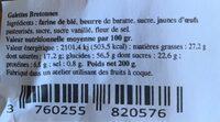 Galettes bretonnes - Informations nutritionnelles