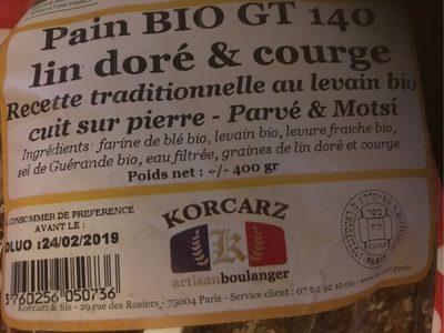 Pain bio GT 140 - Ingrediënten