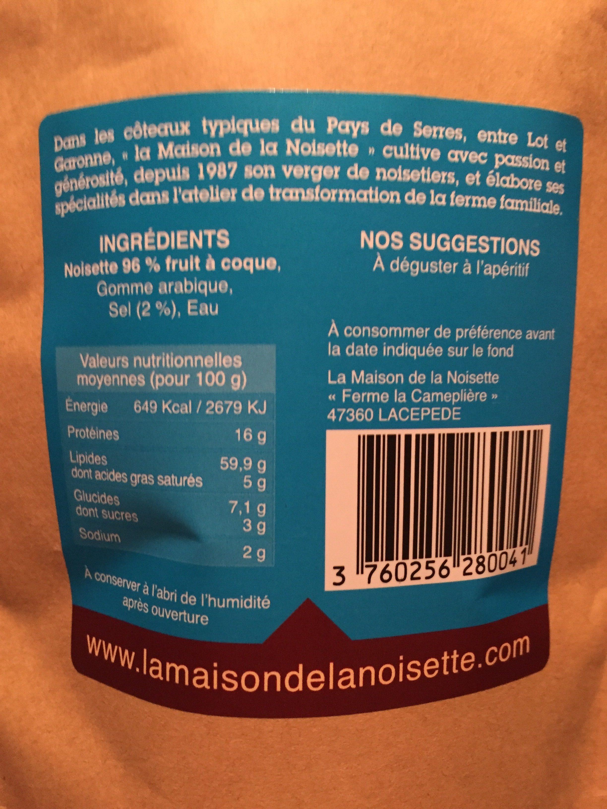 Noisettes grillees salees - Ingrédients - fr