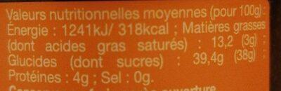 La Chabraque crème à tartiner - Nährwertangaben