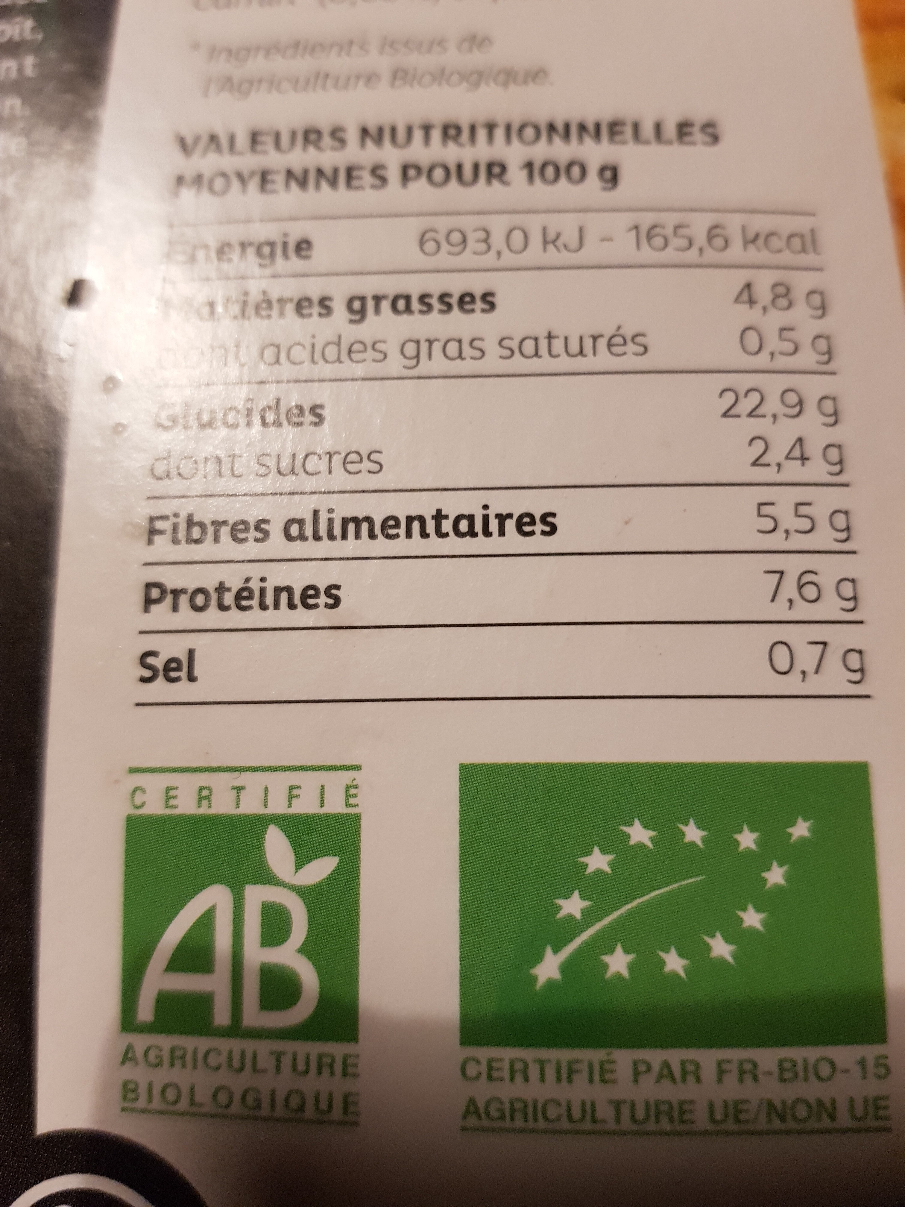 Galettes pois chiches - Informations nutritionnelles - fr