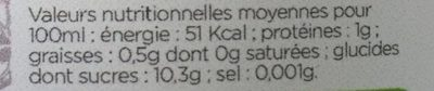Jus Amour - Nutrition facts - fr