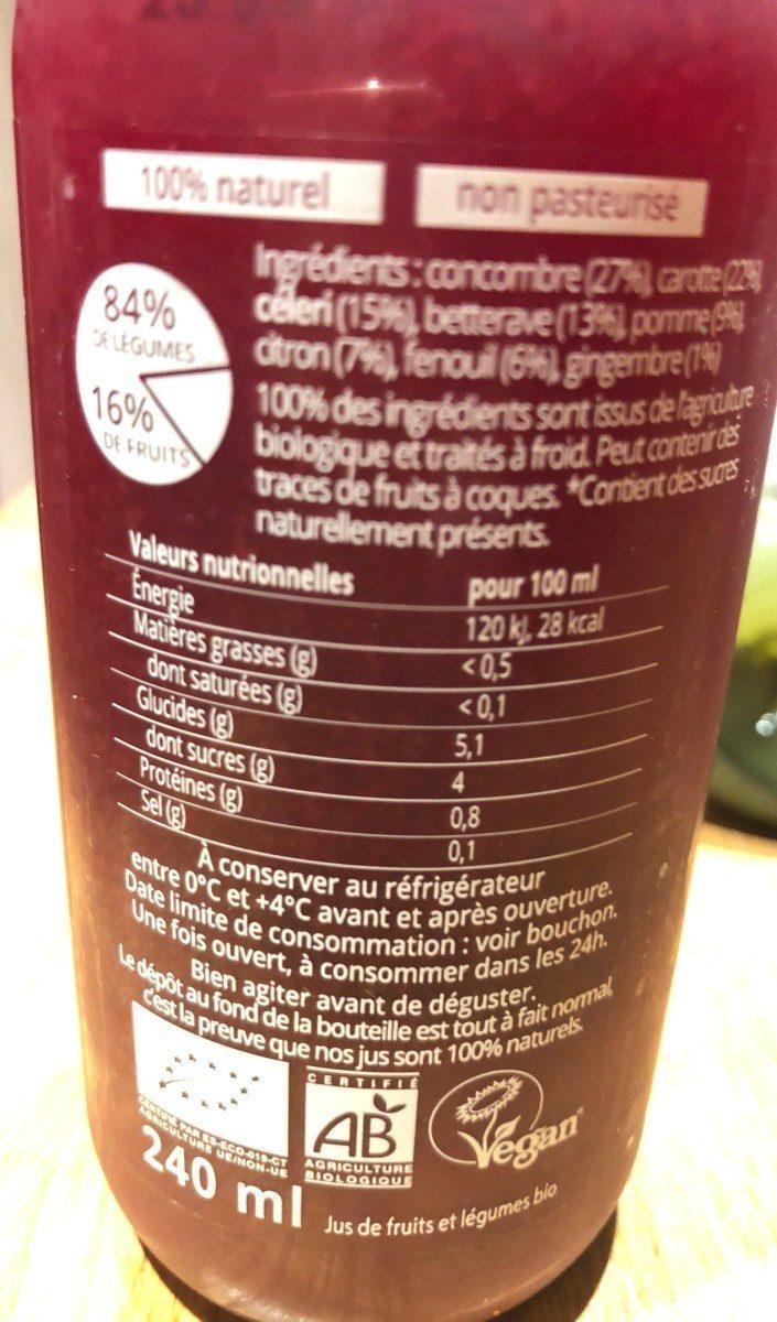 Jus Eveil - Informations nutritionnelles