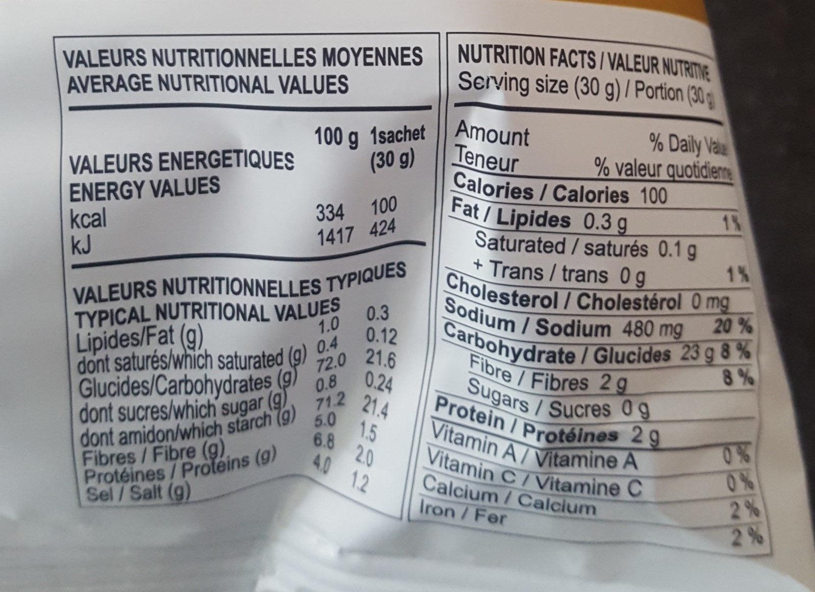Chips a Base De Pomme De Terre - Nutrition facts