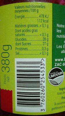 Confruipure bio 100% issu des fruits - Nutrition facts - fr