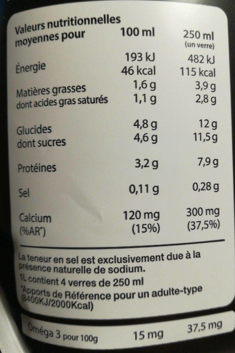 Lait Demi Ecrémé UHT - Nutrition facts - fr
