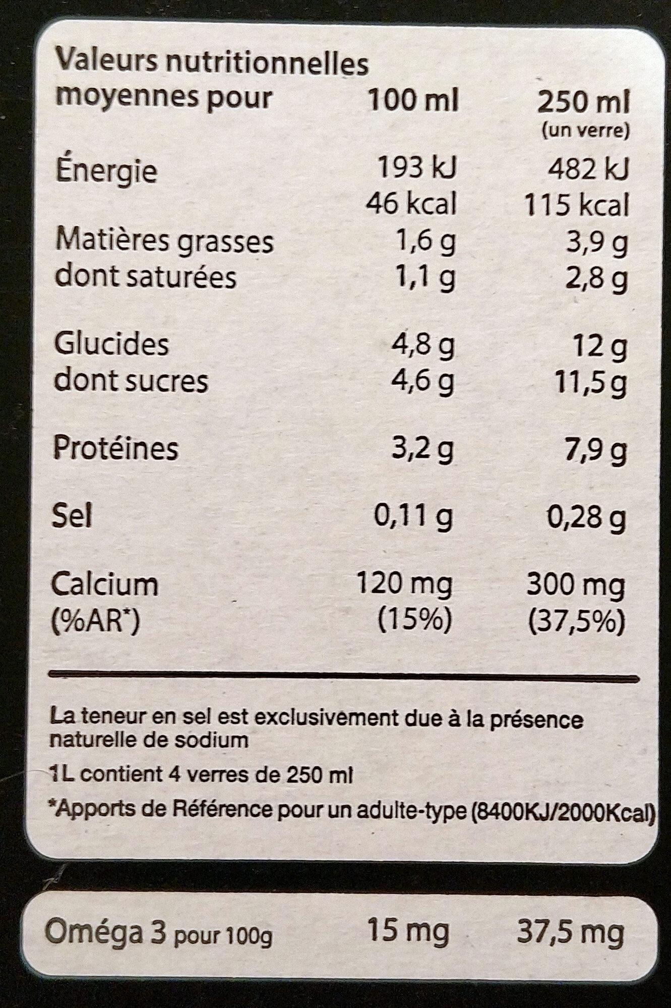 Lait demi-écrémé En Direct Des Éleveurs - Nutrition facts - fr