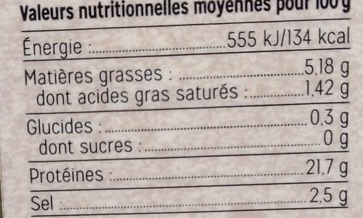 Filet de Bar Fumé Tranché - Voedingswaarden - fr