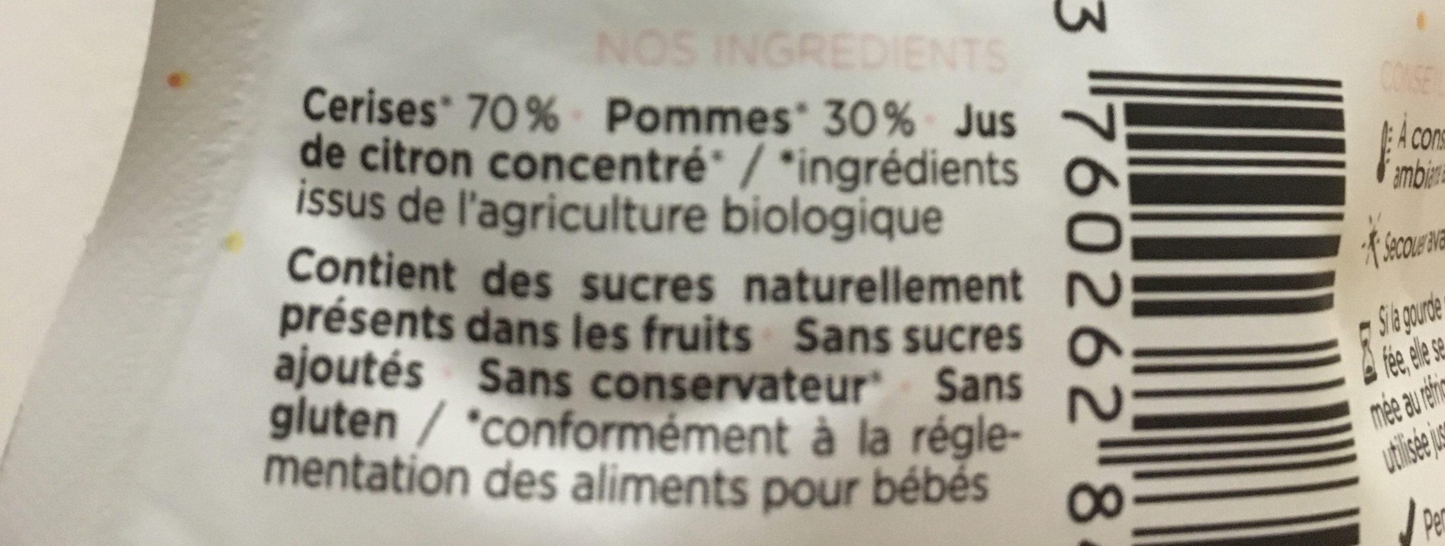 Les cerises - Ingrédients