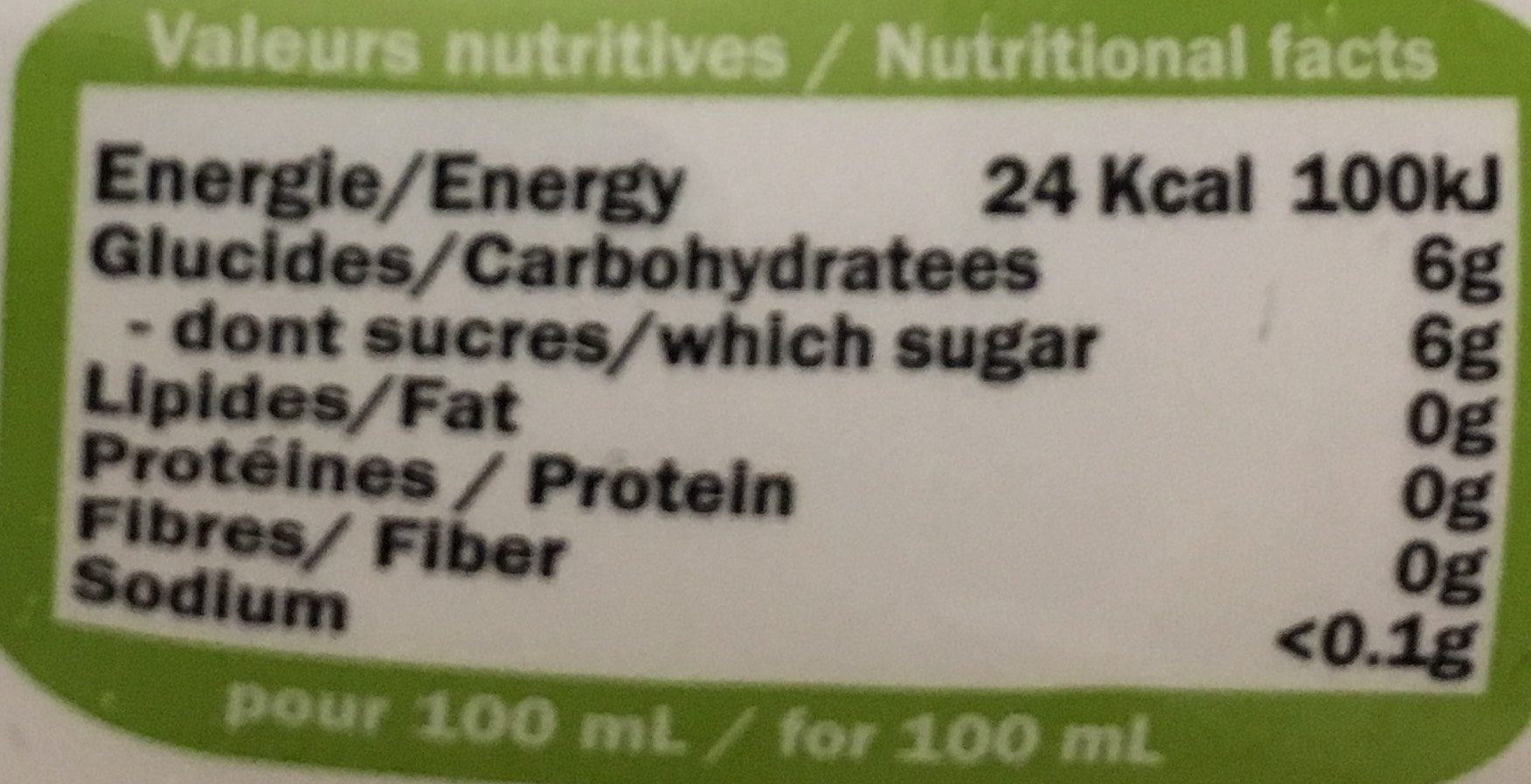 Sweety - Informations nutritionnelles - fr