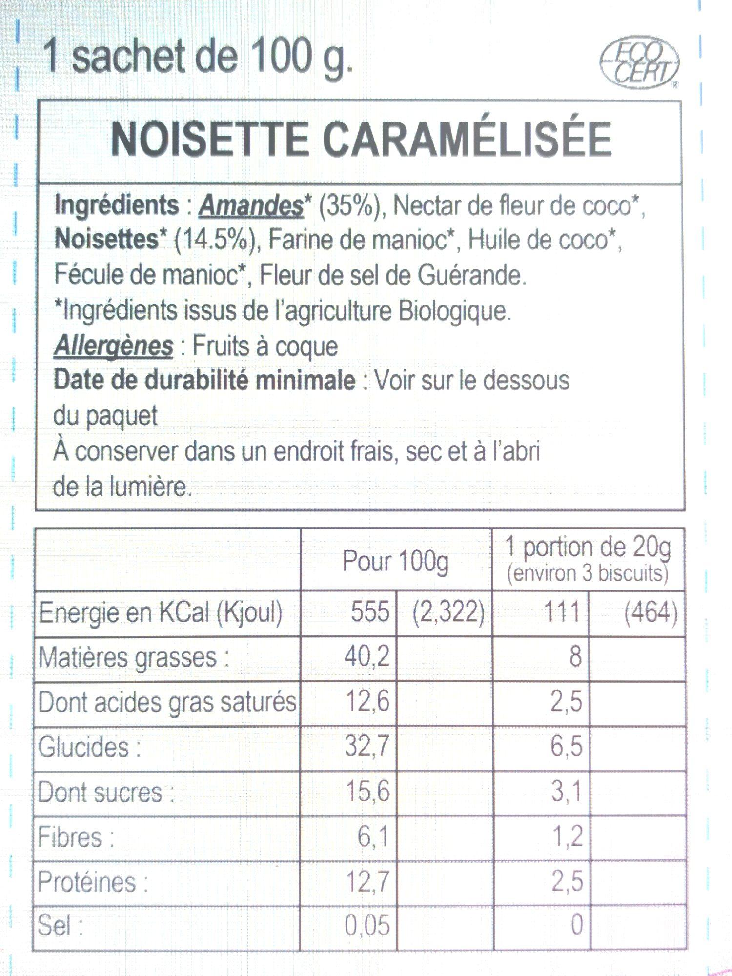 Noisette Caramelisée - Información nutricional - fr