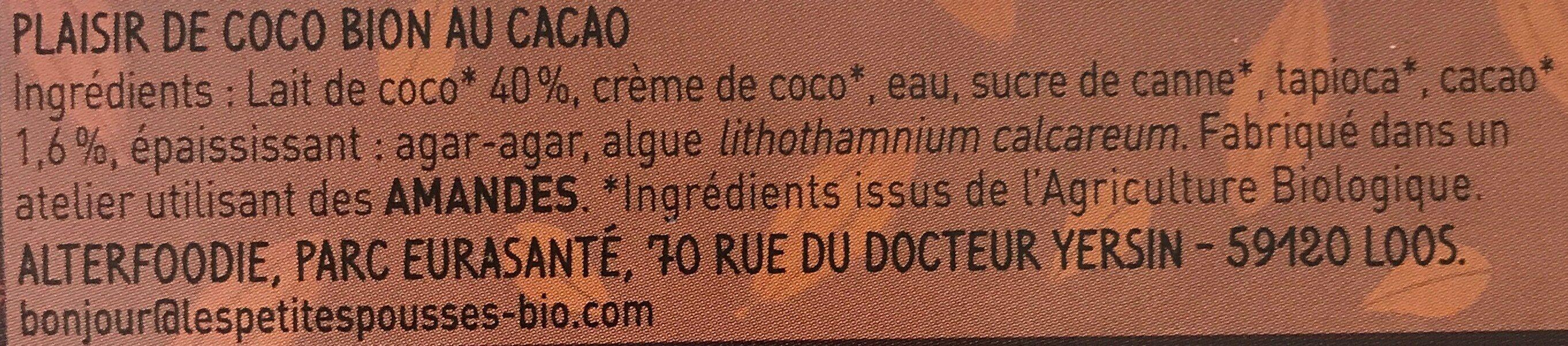 Desserts bio lait de coco/cacao Les Petites Pousses - Ingrédients - fr