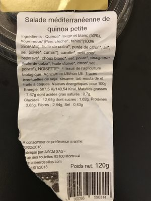 Salade méditerranéene de quinoa -petite - Ingrédients - fr
