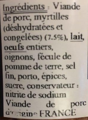 Terrine myrtille - Ingrediënten - fr