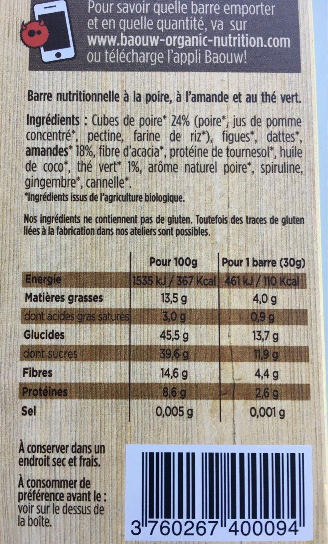Barre Femme Endurance Poire Amande Thé vert - Nutrition facts