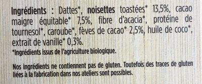 Barres Hommes Performance Cacao-noisette-vanille - Ingredients
