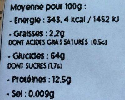Couscous Complet - Nutrition facts