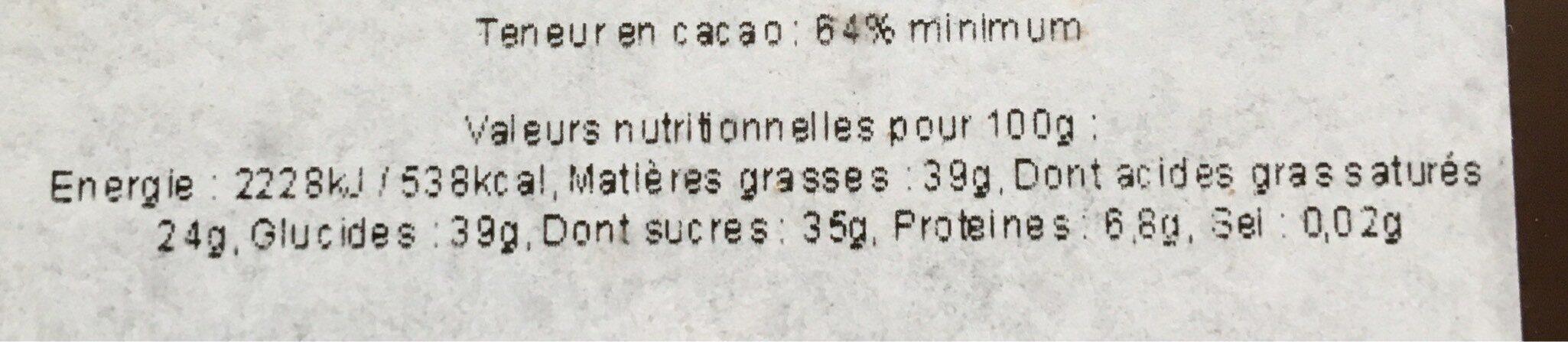 Tablette de chocolat 64% Pérou - Informations nutritionnelles