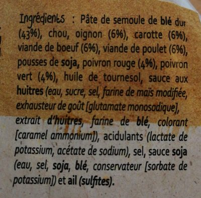 Wok de nouilles chinoises - Ingredients