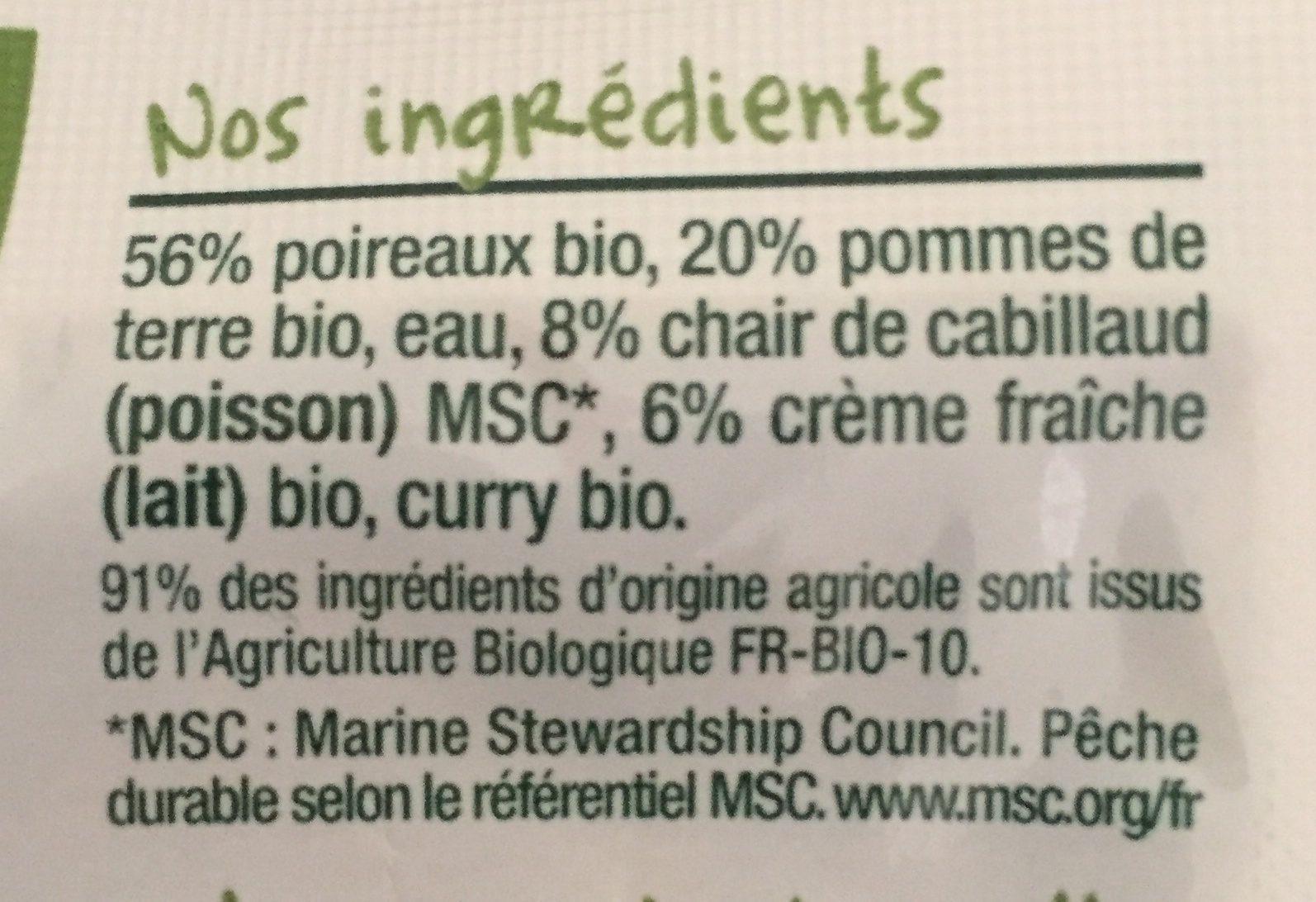 Fondue de poireaux, pommes de terre, Cabillaud-Good Gout-190g - Ingredients - fr