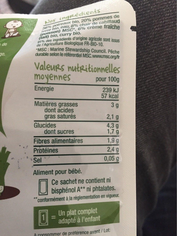 Fondue de poireaux, pommes de terre, Cabillaud-Good Gout-190g - Nutrition facts - fr