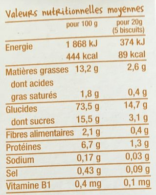 Les biscuits tout ronds vanille-Good Gout-80g - Nutrition facts - fr