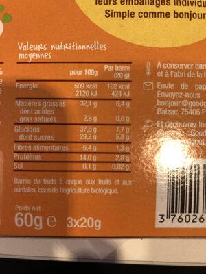 Barres bio Amandes, noix de pécan, bananes-Good Gout Kidz-60g - Nutrition facts