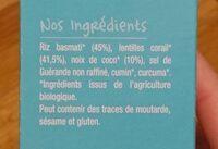 Riz lentilles Bio à la noix de coco-Good Gout Kidz-240g - Ingrediënten - fr