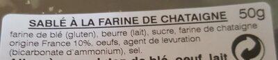 Sablé à la Farine de Châtaignes - Ingrédients - fr