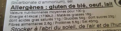 Sablé à la Farine de Châtaignes - Informations nutritionnelles - fr