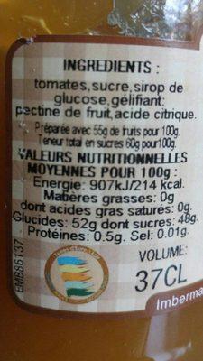 Confiture tomates vertes - Ingrediënten - fr