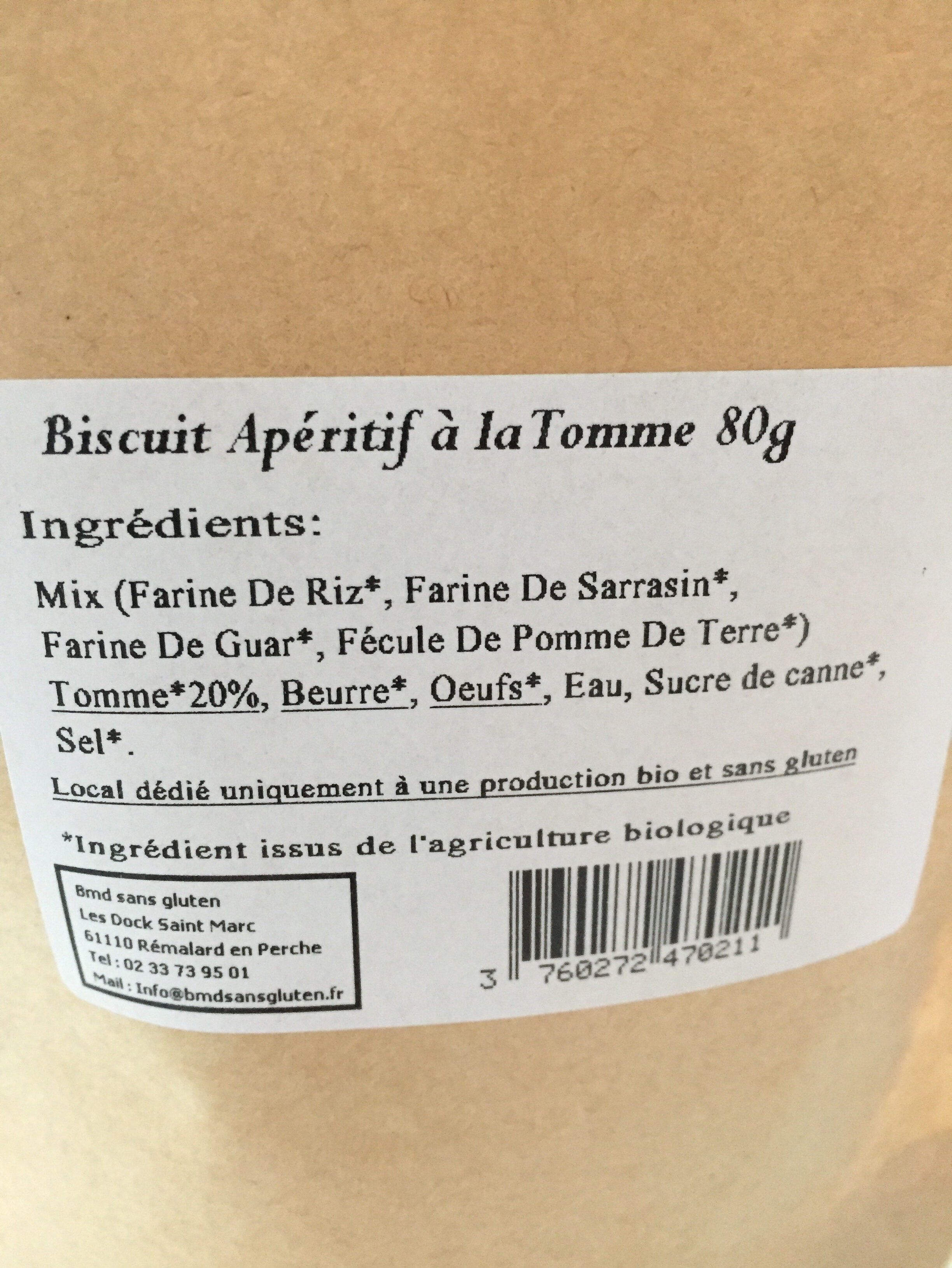 Biscuit apéritif Artisanal A la Tomme - Ingredients