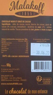 Chocolat les gourmandes - Informations nutritionnelles - fr