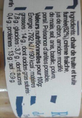 Rillettes de truite - l'original - Voedingswaarden
