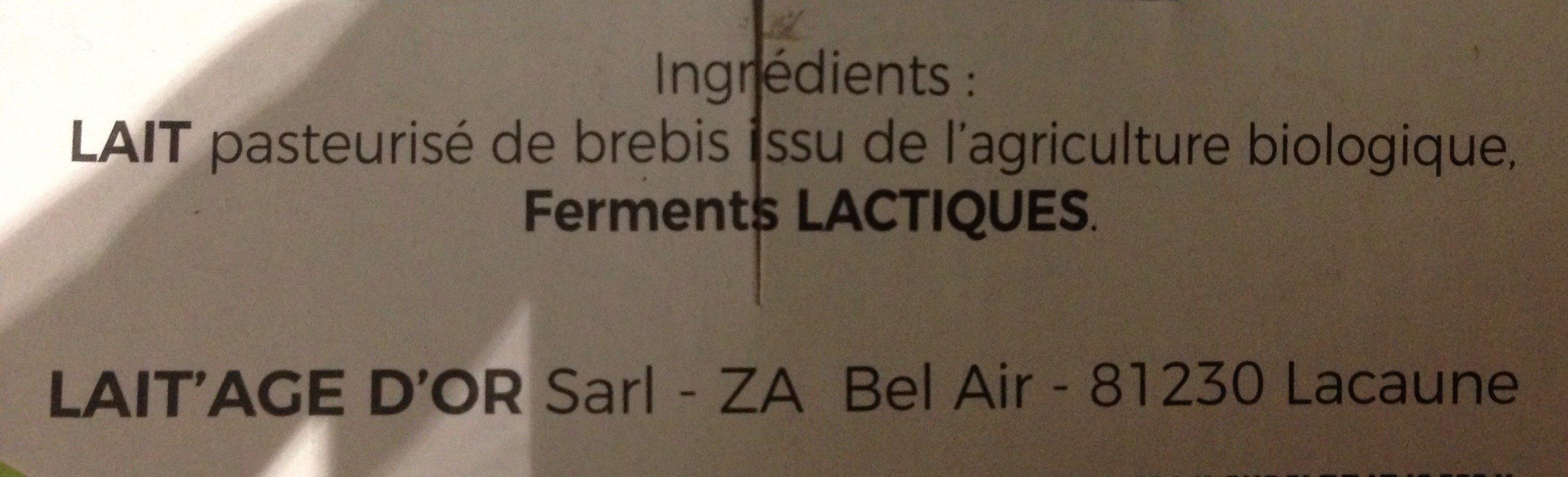 Yaourt brassé au lait de brebis nature - Ingredients