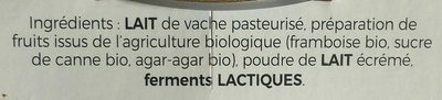 Yaourt brassé au lait de vache framboise - Ingrédients - fr