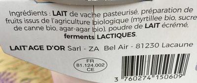 Yaourt brassé au lait de vache myrtille - Ingrédients - fr