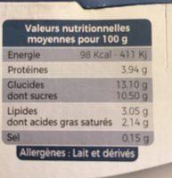 Yaourt brassé au lait de vache myrtille - Informations nutritionnelles - fr