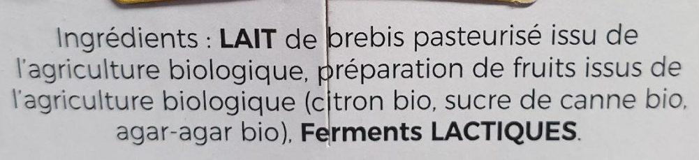 Yaourt brassé sur lit de citron - Ingredients
