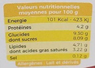 Yaourt brassé sur lit de citron - Nutrition facts