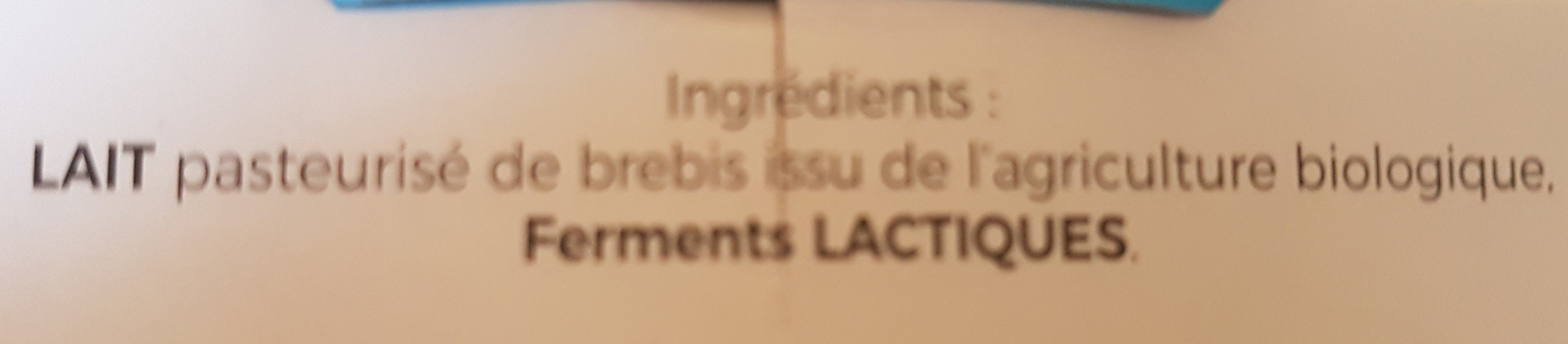 Yaourt au lait de brebis bio nature - Ingrédients - fr