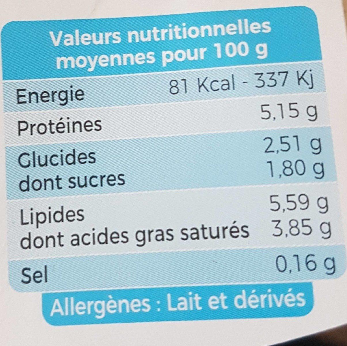 Yaourt au lait de brebis bio nature - Informations nutritionnelles - fr