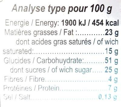 Biscuits au Chocolat - Voedingswaarden
