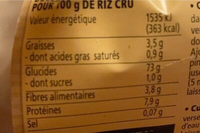 Riz à poêler - Voedingswaarden - fr