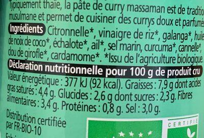Pâte de curry thaï massaman - Nutrition facts - fr