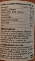 Sauce tomate bio de variété ancienne - Informations nutritionnelles - fr